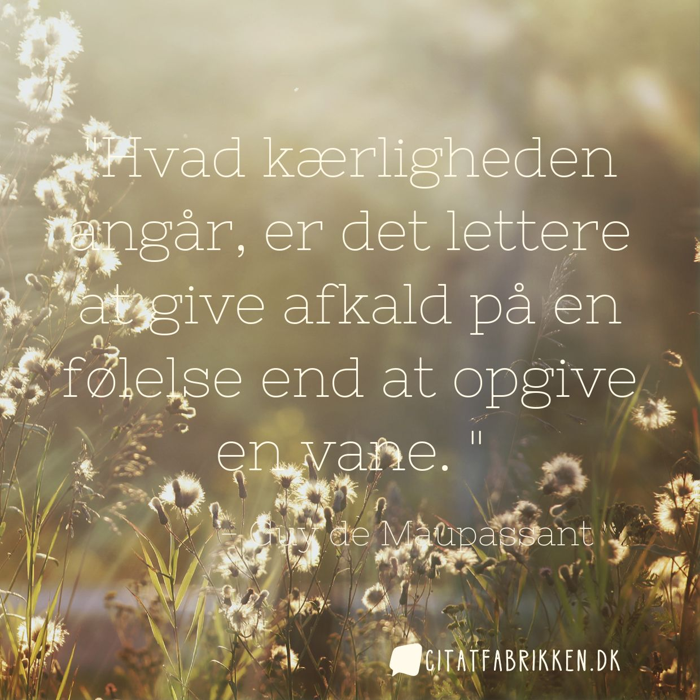 Hvad kærligheden angår, er det lettere at give afkald på en følelse end at opgive en vane.